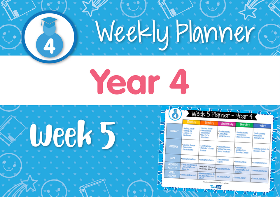 Weekly Planner - Year 4 Week 5