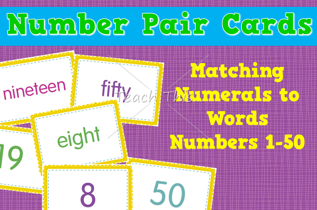 Number Pair Cards – Matching Numerals to Words – 1 to 50
