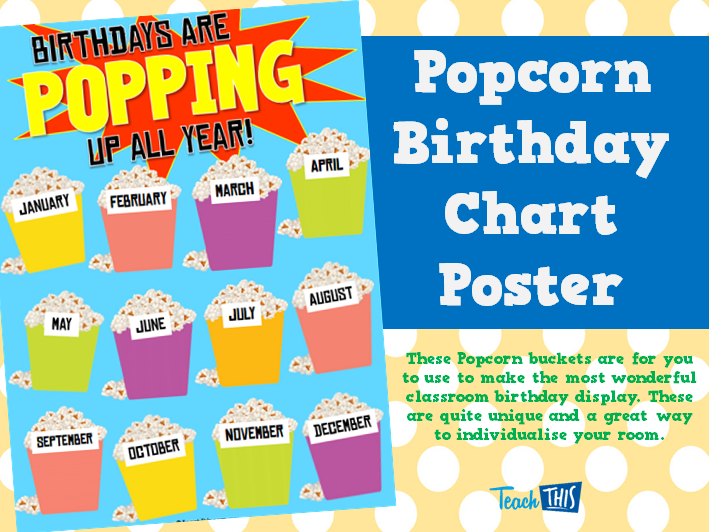Popcorn Birthday Chart Poster :: Teacher Resources and Classroom ...
