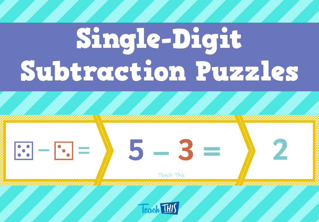 Single-Digit Subtraction 3-piece puzzles