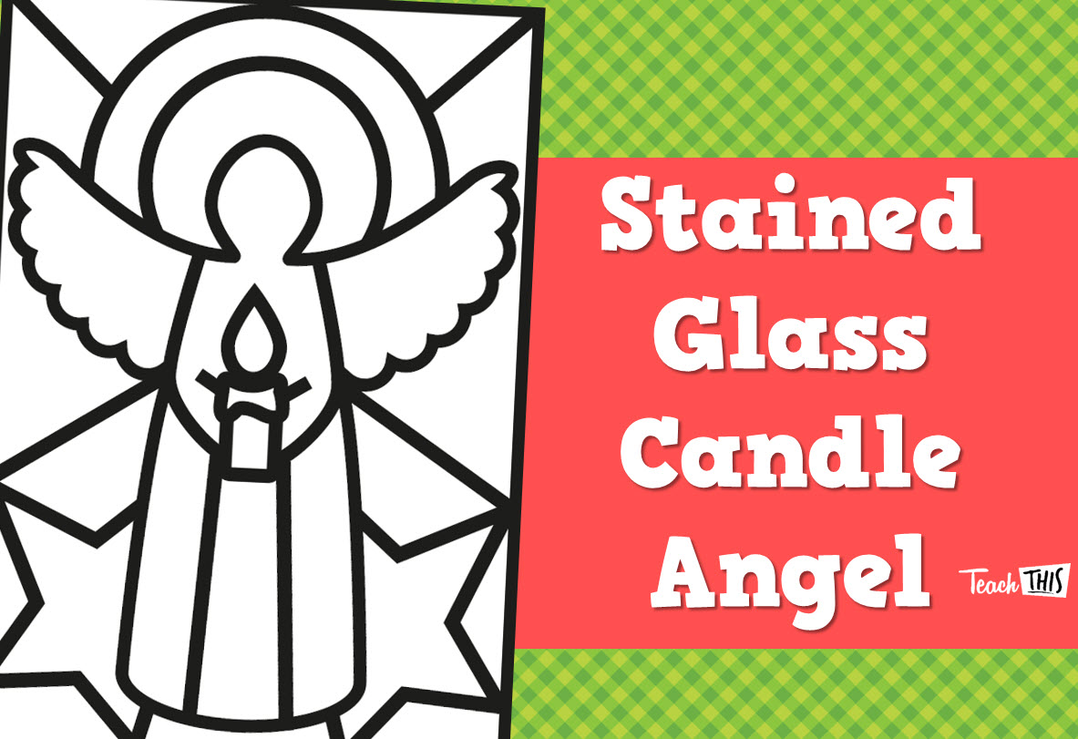 Stained Glass Candle Angel