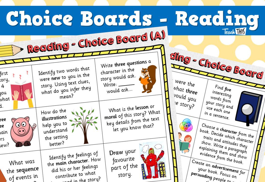 Choice Board - Reading