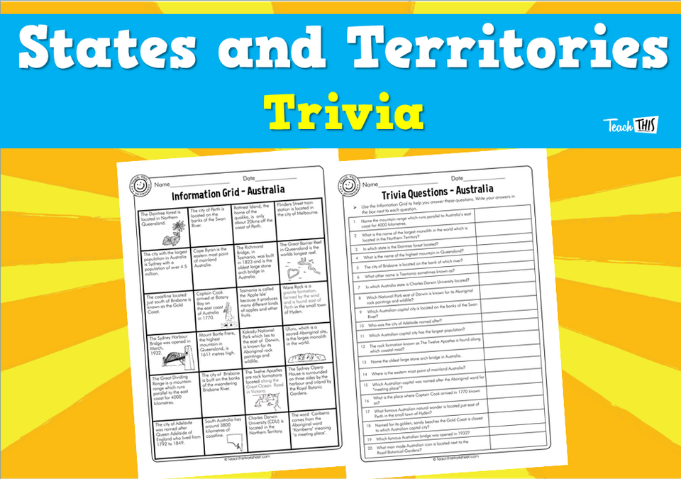 States and Territories Trivia (3 pg)