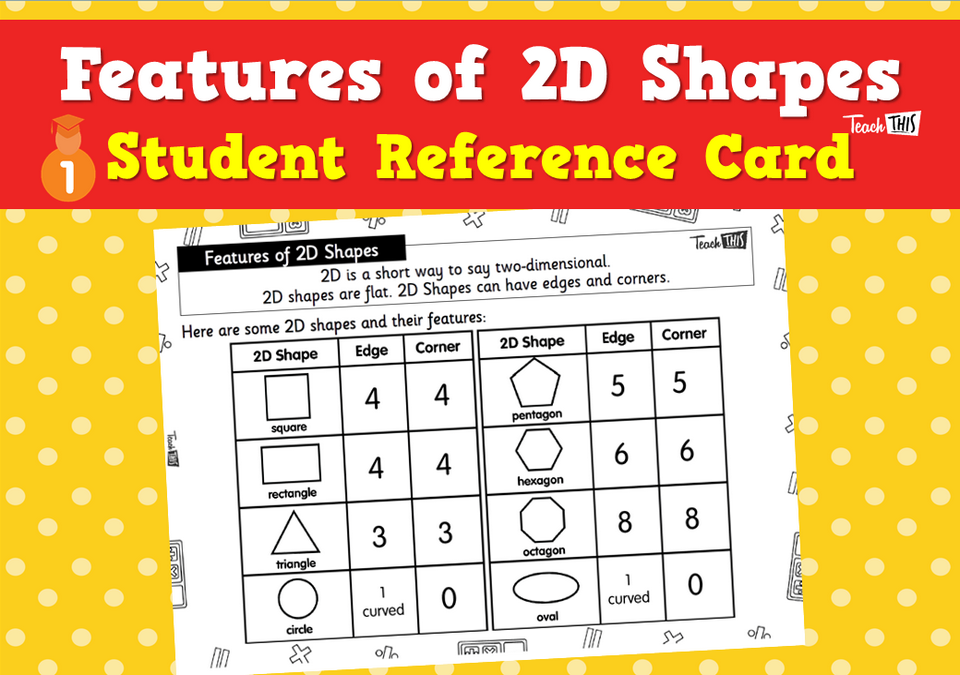Features of 2D Shapes - Student Reference Cards