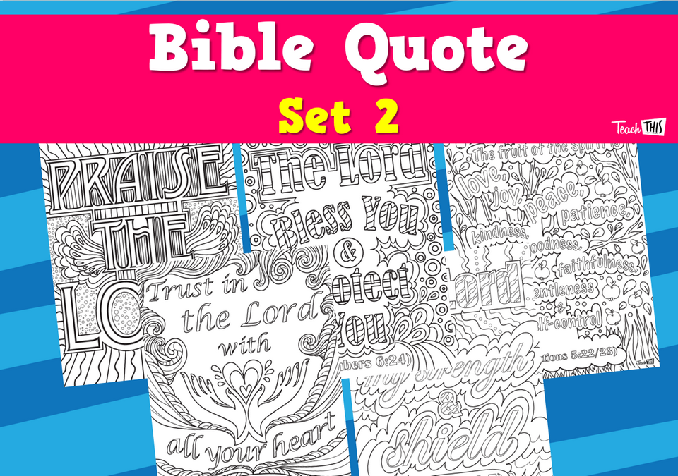 Bible Quote Colouring - Set 2