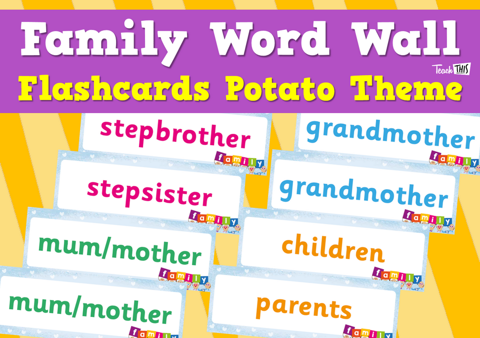 Family Word Wall Flashcards Potato Theme