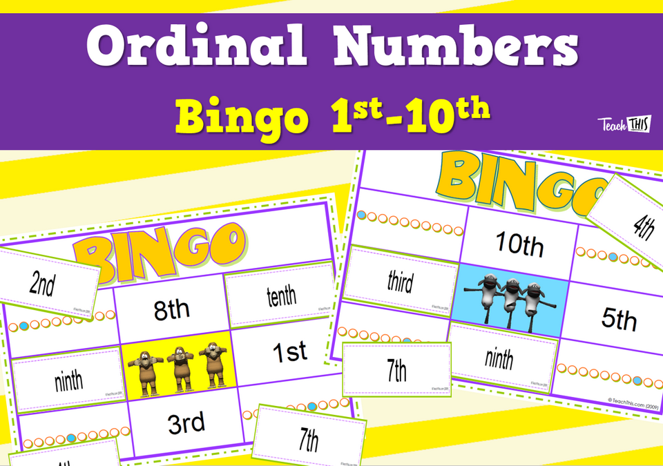 Ordinal Numbers Bingo 1st - 10th