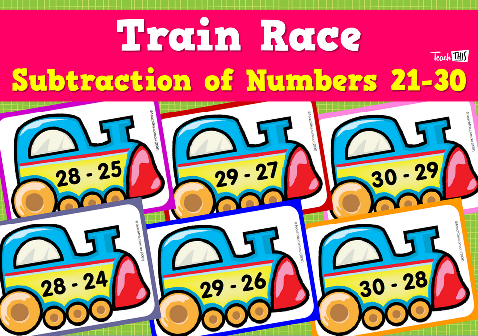 Train Race Subtraction of Numbers 21-30