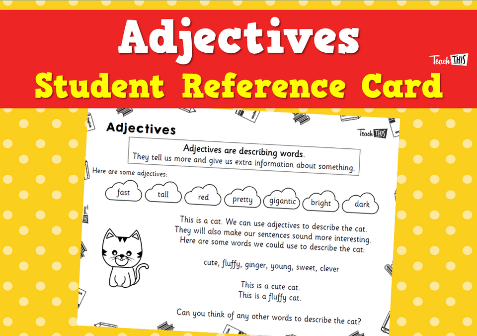 Adjectives - Student Reference Card
