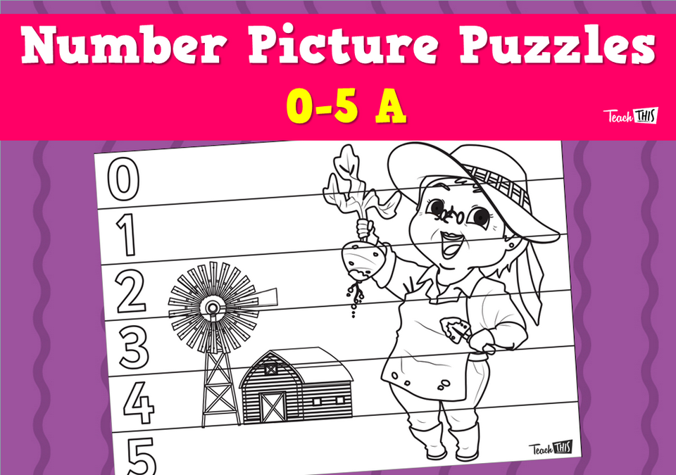 Number Picture Puzzles 0-5 - Farmer
