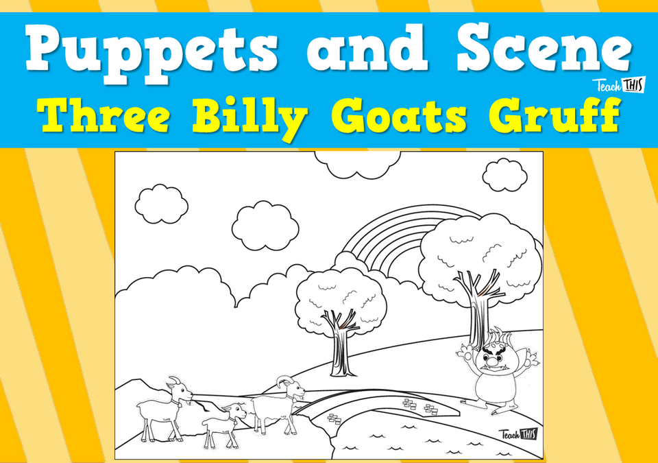 Puppets and Scene - Three Billy Goats Gruff