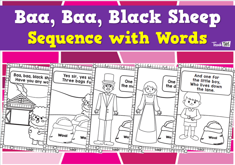 Baa, Baa, Black Sheep - Sequence with Words