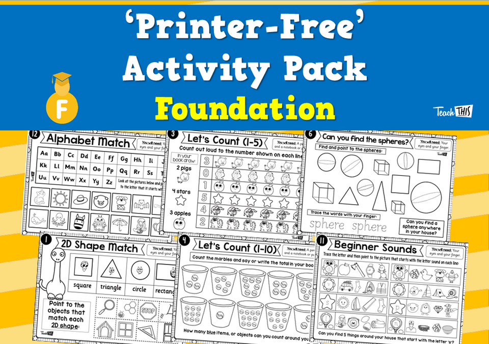 'Printer-Free' Activity Pack - Foundation