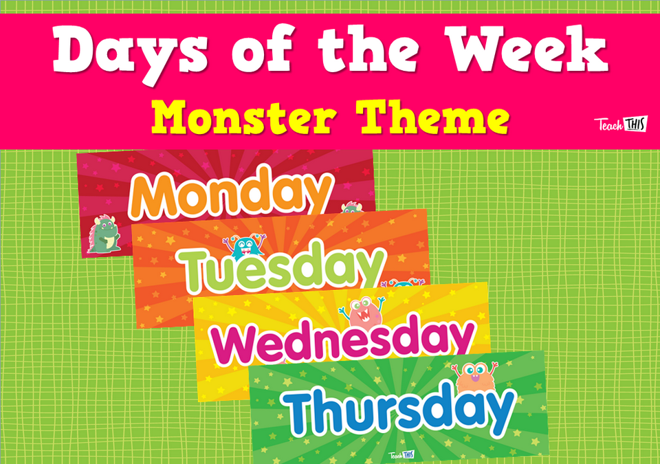 Days of the Week - Monster Theme