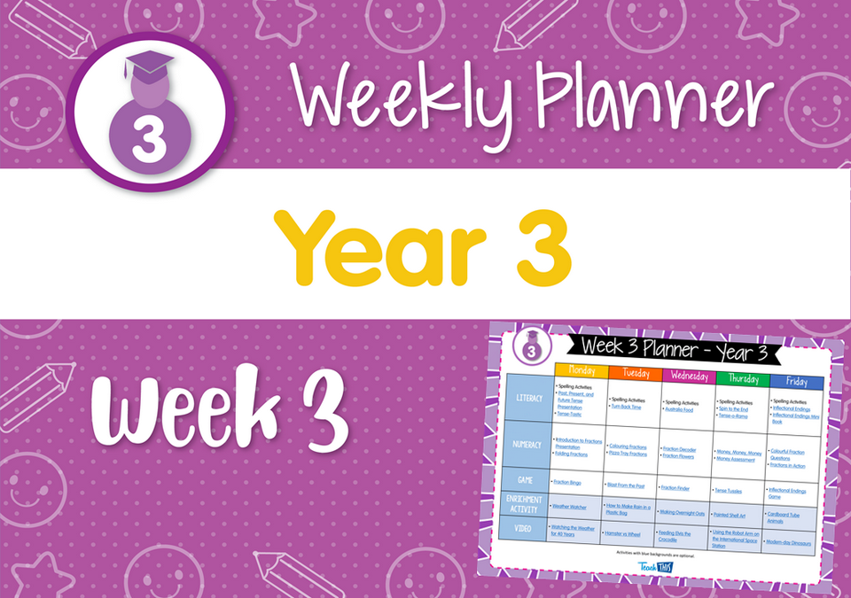 Weekly Planner - Year 3 Week 3