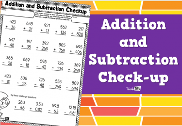Addition and Subtraction Check-up