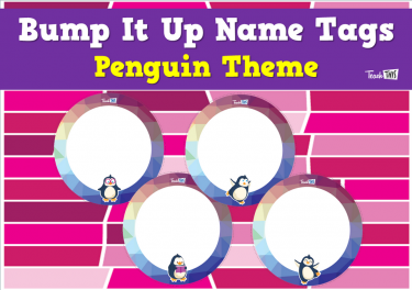 Bump It Up Name Tags - Penguin Theme