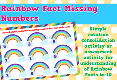 Rainbow Facts Missing Number Sheets