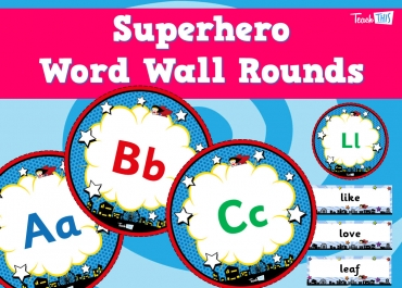 Superhero - Word Wall Rounds Upper & Lower