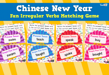 Chinese New Year - Fan Irregular Verbs Match