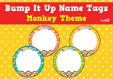 Bump It Up Name Tags - Monkey Theme