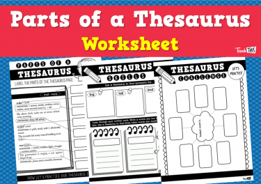 Parts of a Thesaurus Worksheet