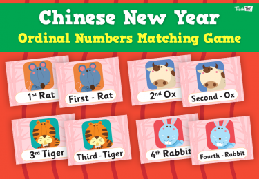 Chinese New Year - Ordinal Numbers Matching Game