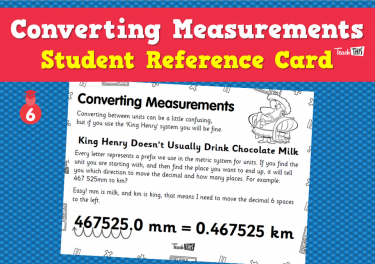 Converting Measurements - Student Reference Card
