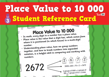 Place Value to 10 000 - Student Reference Card