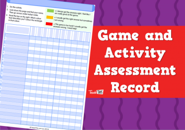 Game and Activity Assessment Record