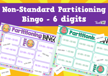Non Standard Partitioning Bingo - 6 digits game