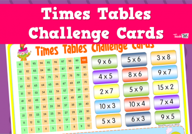Times Tables Challenge Cards