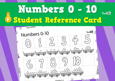 Number 0 - 10 - Student Reference Card