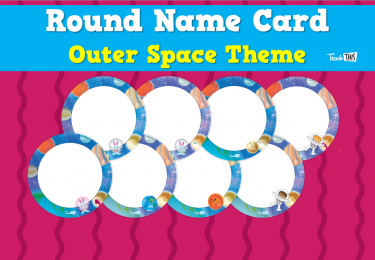 Round Name Card - Outer Space Theme