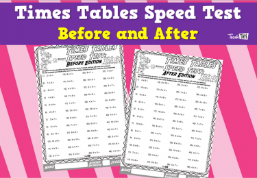 Times Tables Speed Test- Before and After