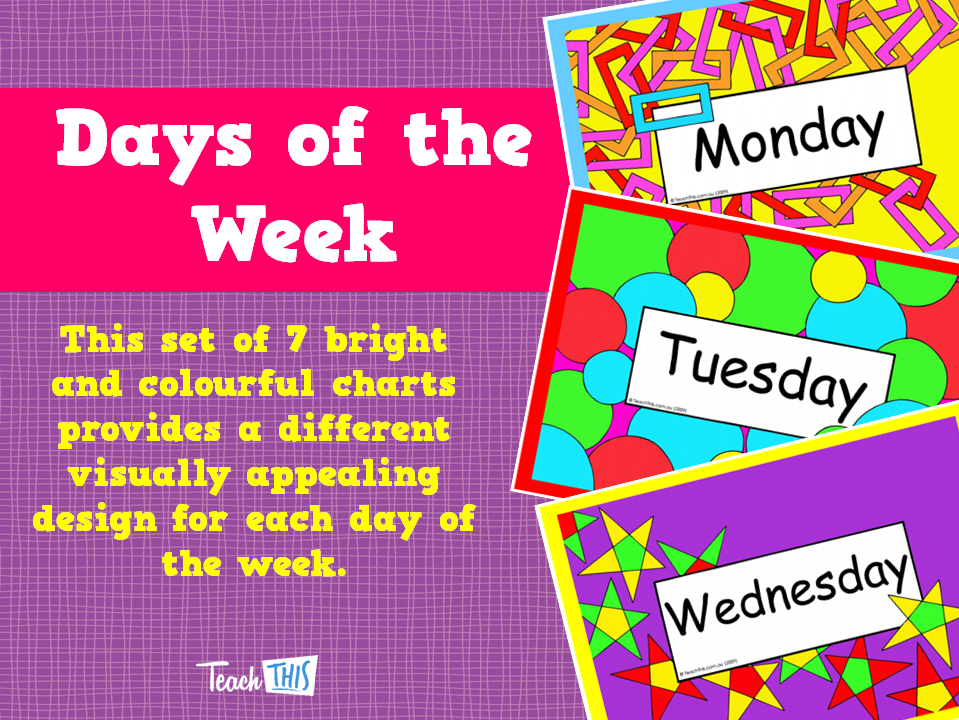 Design Of Classroom Charts ~ Days of the week printable classroom displays teacher
