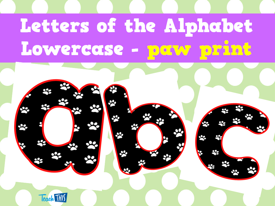 Letters of the Alphabet Lowercase - paw print - Printable ...