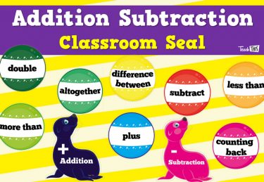Addition Subtraction Classroom Seal Display