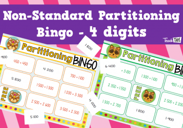 Non Standard Partitioning Bingo - 4 digits game